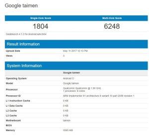 Google Taimen Geekbench 300x274 گوشی گوگل با نام Taimen همراه اندروید O در گیگ بنچ رؤیت شد!!!
