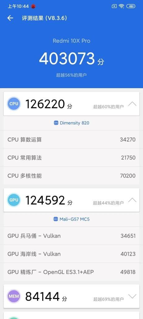 بنچمارک گوشی شیائومی Redmi 10x pro 5g
